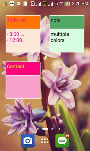Simple sticky notes widget