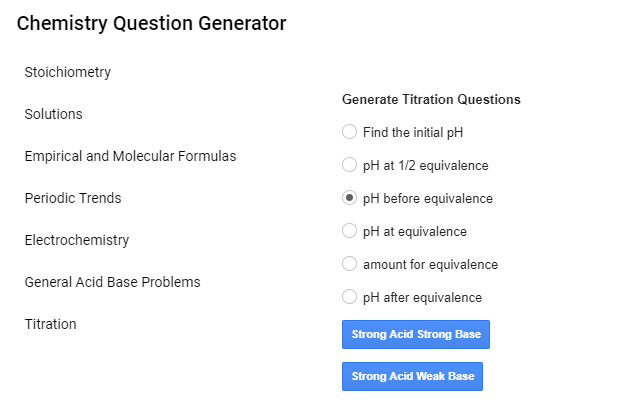 Chemistry Question Generator - Google Forms add-on