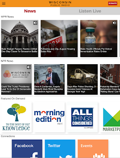 Wisconsin Public Radio App- screenshot thumbnail