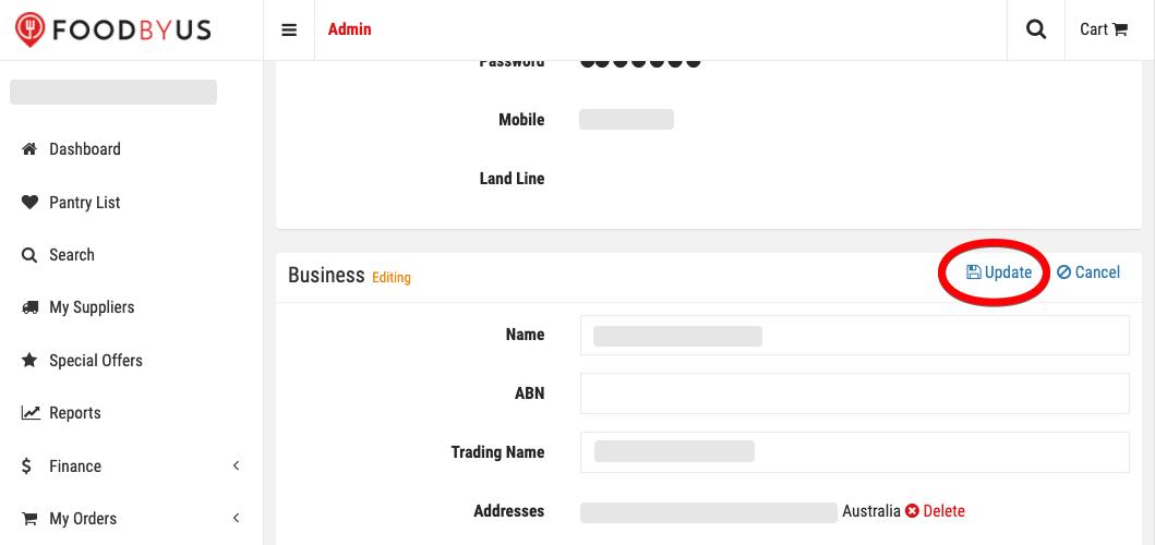 FoodByUs update business profile