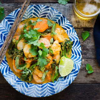 Coconut Braised Shrimp With Garnet Sweet Potatoes