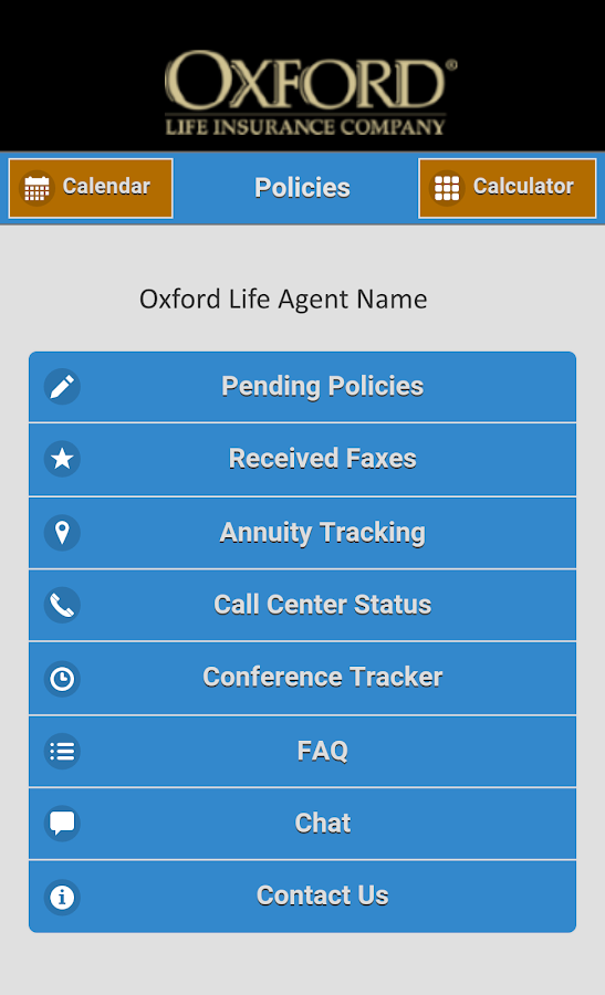 Oxford Life Mobile Office- screenshot