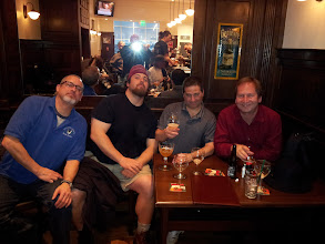 Photo: Jim Hatsell, Charlie Meers, Dan Rosen and Coby Glass meet for a beer just before departure at the new Belgian Beer Bar on Concourse F at Hartsfield Jackson International Airport in Atlanta.
