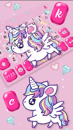 cute pink unicorn keyboard theme screenshot 2