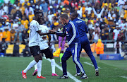 Augustine Mulenga of Orlando Pirates celebrates goal with Milutin Sredojevic, head coach of Orlando Pirates during the Carling Black Label Cup Match between Kaizer Chiefs and Orlando Pirates on the 27 July 2019 at FNB Stadium, Soweto.