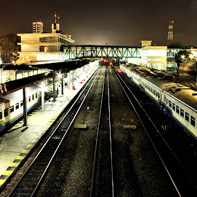 Medan Railway Station by Diaz Fachry - Transportation Railway Tracks ( railway, art, night, photography )