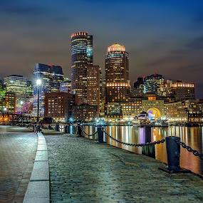 Boston Harbor by Hoover Tung - City,  Street & Park  Night ( port, skyline, harbor, america, metropolis, ship, ocean, travel, cityscape, architecture, usa, city, lights, boston, skyscraper, buildings, light, downtown, sightseeing, building, sea, tourism, massachusetts, urban, landmark, vacation, blue, sunset, night,  )