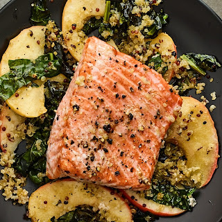 Sheet Pan Salmon With Chard, Apple, and Quinoa.
