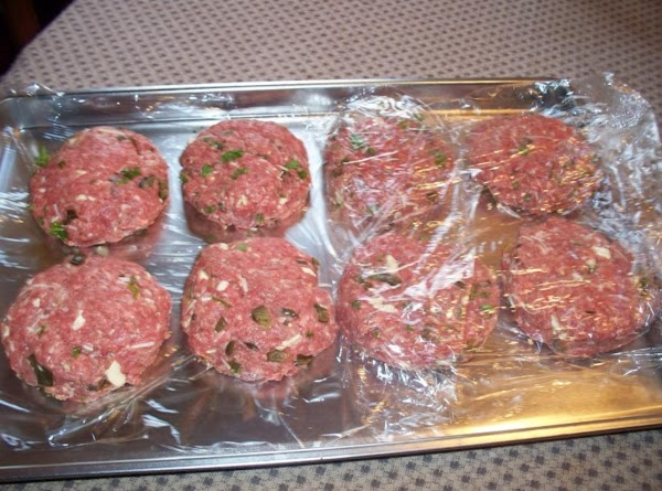 Form into patties and place on saran wrap on a cookie sheet.  I...