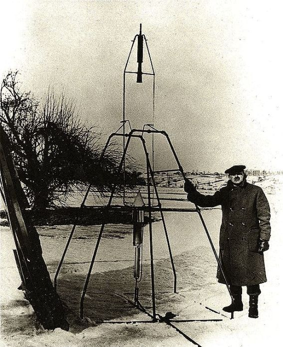 Goddard with his Rocket in Marry Land