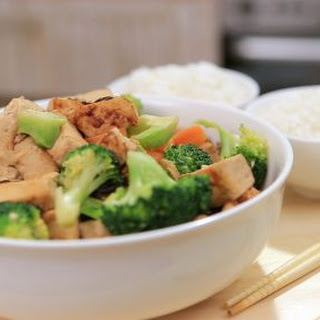 Oyster Tofu and Carrot Stir Fry with Broccoli.