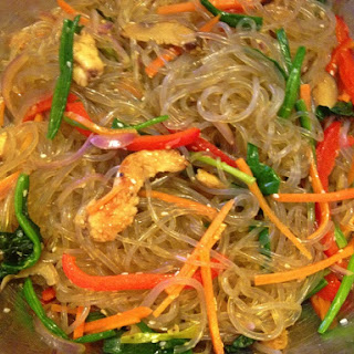 Japchae, Korean stir fried sweet potato glass noodles