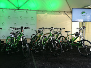 """Photo: See that TV? The power to show a welcome """"ribbon-cutting"""" video was generated by human power on these bikes!"""