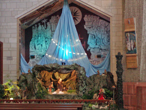 Photo: It was especially appropriate to see the Christmas scene at this holy place.