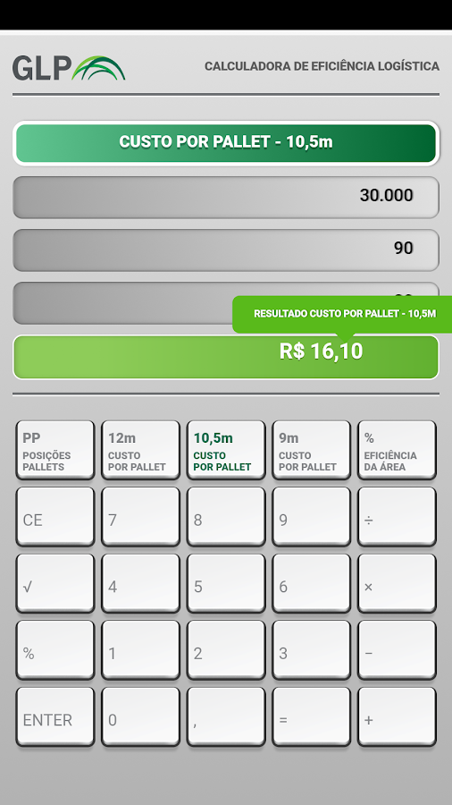 GLP - Calculadora Logística- screenshot