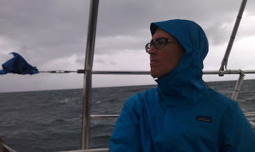 Photo: foul weather with Anne at helm in Hawk Channel