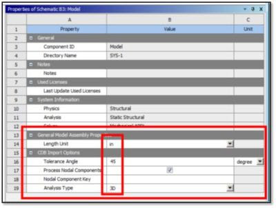 ANSYS - Настройка свойств модели и процесса импорта файла *.CDB