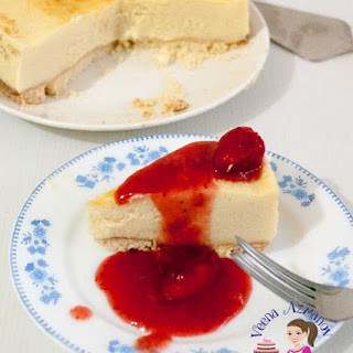 Classic Strawberry Cheesecake With Strawberry Compote.