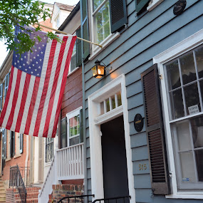 Old Town Alexandria by Jim Schlett - City,  Street & Park  Neighborhoods ( americana, flag, neighborhood, colonial, usa, rowhouse, city )