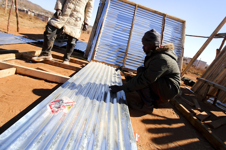 Peter Maluleke and his mate Alfred are making a living erecting shacks at Narens Farm.
