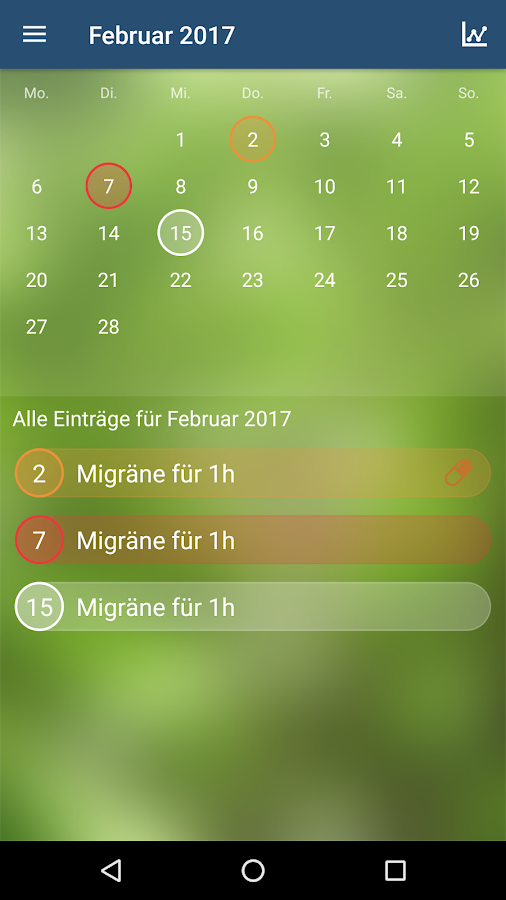 Migräne App – Screenshot