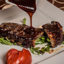 Ribs by Ewald Gruescu - Food & Drink Plated Food ( gruescu, nikon, sigma, ewald, foodporn, restaurant, meat, plate, lightroom, ribs, photography, food )