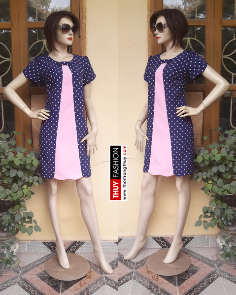 Váy suông chữ A chấm bi phối sọc giữa V308 thời trang thuỷ