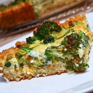 Broccoli and Cheddar Quiche with a Brown Rice Crust.