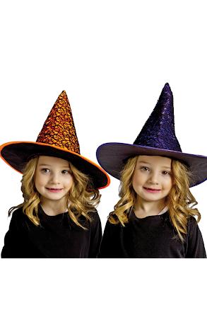 Häxhatt orange och lila, barn