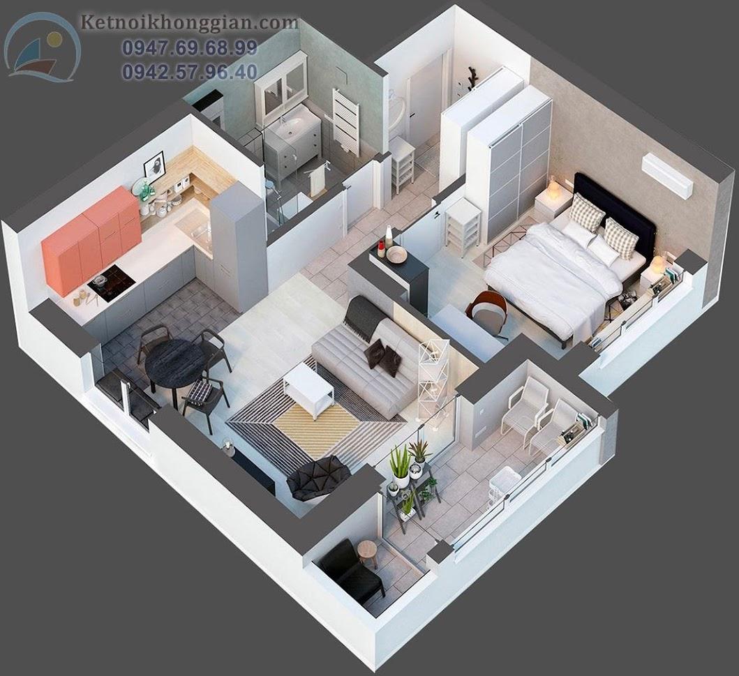 thiết kế căn hộ diện tích 50m2