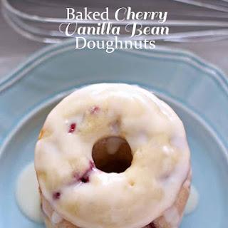 Baked Cherry Vanilla Bean Doughnuts