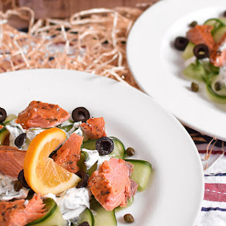 Smoked Salmon and Cucumber Ribbons.