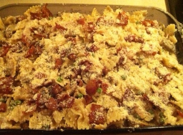 Sprinkle crumbled bacon and remaining 1/2 cup Parmesan cheese over casserole, and bake for...