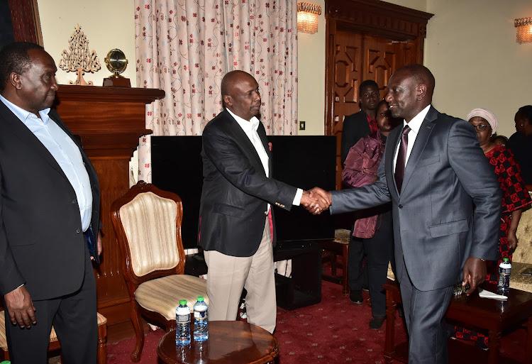 Deputy President William Ruto greets Baringo Senator Gideon Moi when he went to condole the family on February 4, 2020.
