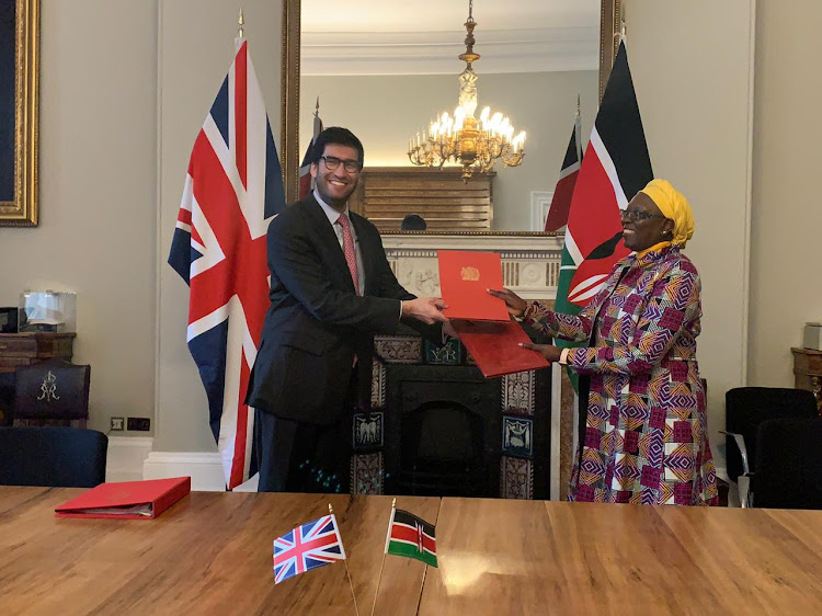 UK's International Trade Minister Ranil Jayawardena with Industrialisation and Trade CS Betty Maina during the signing of the EPA on December 8, 2020/FILE