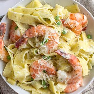 Basil Shrimp and Pasta Alfredo.