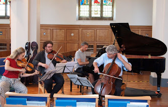 Photo: Barbican Piano Trio with Adam rehearsing Mozart and Dvorak on 26th May