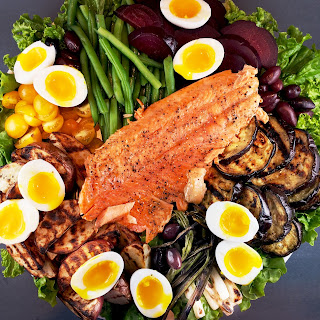 Grilled Vegetable Nicoise Salad with Salmon.
