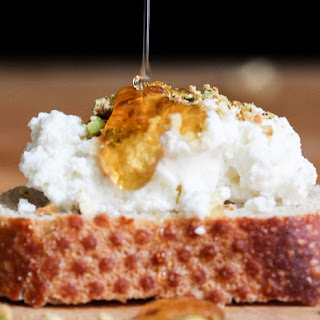 Fresh Ricotta Crostini with Honey and Pistachio // A Double-Purposed Homemade Cheese.