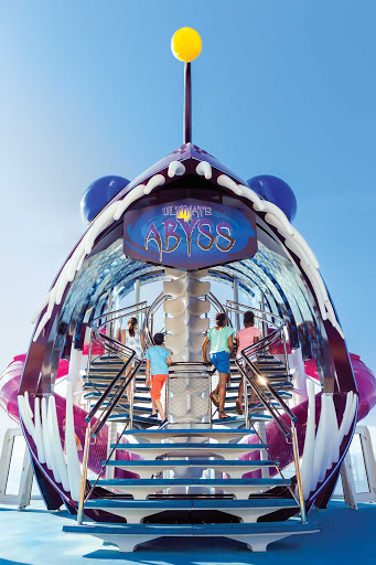 Kids enter the 10-story-high Ultimate Abyss on Harmony of the Seas.
