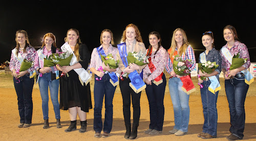 CROWNING GLORY: Elliot Blackman, fourth from left, and April Squire, fifth from left, were named Junior and Senior Showgirl respectively at the Narrabri Show on Friday night. Pictured with them are Georgia Hardman, Chelsea Hancock (both Junior), Carla-Jane Lennox (second runner-up Senior and Showgirls' Choice award), Annabelle Gordon (Junior runner-up), Allison Bell (Senior runner-up), Emily Redman and Timeka Thompson (both Junior).