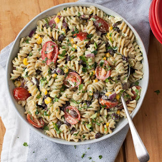 Mexican Pasta Salad with Creamy Avocado Dressing.