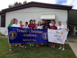 Photo: Interact Club members with President Mary - Painting a home for a veteran!!! - September 19, 2015