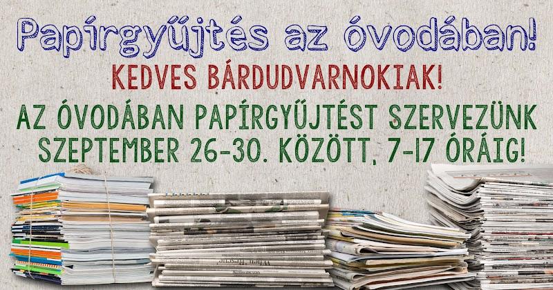 Papírgyűjtés az óvodában 2016 szeptember 26-30