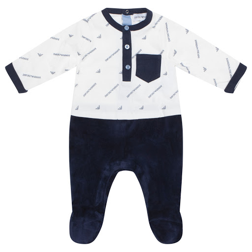 Primary image of Emporio Armani Velour & Cotton Babygrow