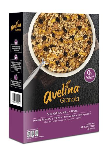 barra de granola sin azucar de miel y pasas avelina 350g