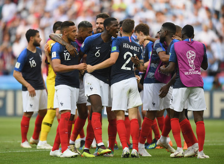 Paul Pogba of France celebrates with team-mates at the end of the 2018 FIFA World Cup Russia Round of 16 match between France and Argentina at Kazan Arena on June 30, 2018 in Kazan, Russia.