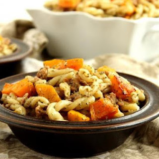 Pasta with Butternut Squash, Sausage and Sage Pesto