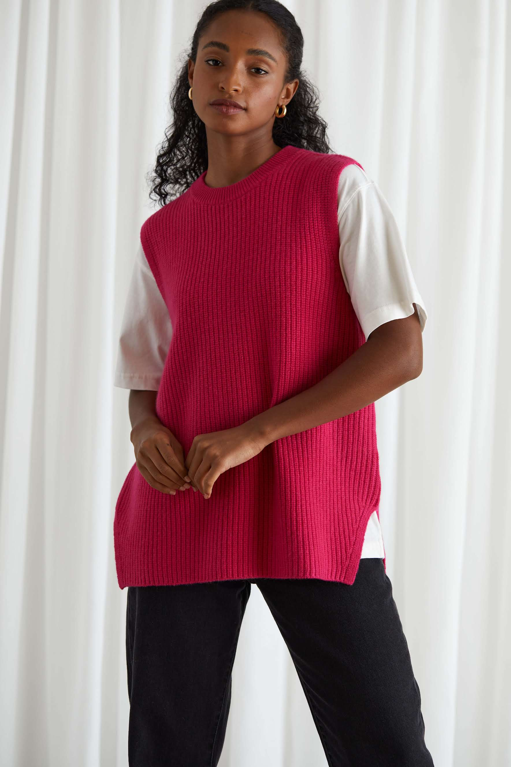Rib O-neck Long Vest