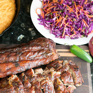 Mango Jalapeño Ribs with Red Cabbage Slaw.